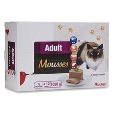 AUCHAN Adult boîtes pâtée en mousse viandes pour chat 12x100g