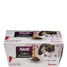 AUCHAN Aliment complet chat adulte coffret découverte au bœuf au poulet et à la dinde 4 boites 340g