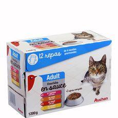 AUCHAN Adult sachets repas bouchées en sauce viandes pour chat 12x100g