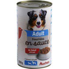 AUCHAN Adult boîte pâtée en sauce au boeuf pour chien 1250g
