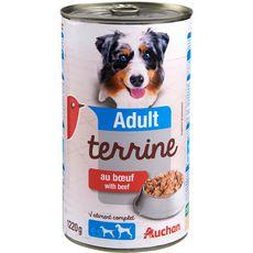 AUCHAN Adult boîte terrine de pâtée au boeuf pour chien 1,22kg