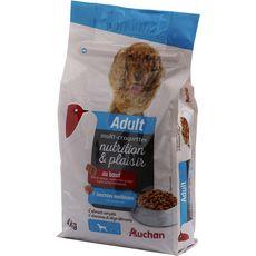AUCHAN Adult multicroquettes moelleuses au boeuf pour chien 4kg