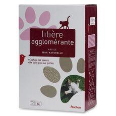 AUCHAN Litière minérale agglomérante argile 100% naturelle pour chat 5l