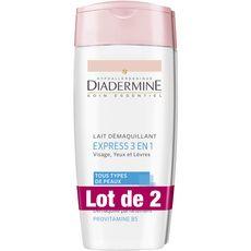 Diadermine Lait démaquillant express 3en1 tous types de peaux 2x200ml