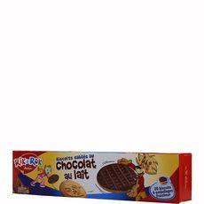 AUCHAN RIK & ROK Biscuits sablés nappés de chocolat au lait, sachets fraîcheur 4x5 biscuits 200g