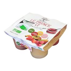 THOMAS LE PRINCE Coupelles bio pomme framboise poire rhubarbe sans sucres ajoutés 4x130g