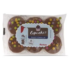 Auchan cupcakes gout vanille x6 -240g