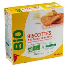 AUCHAN BIO Biscottes à la farine complète 2x18 biscottes 300g
