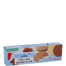 AUCHAN MIEUX VIVRE Auchan mieux vivre Biscuits sablés nappés chocolat au lait sans gluten 150g 4x38g 150g