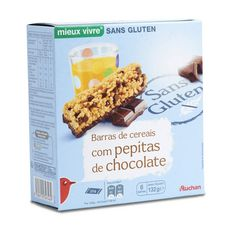 AUCHAN MIEUX VIVRE Barre de céréales avec pépites de chocolat sans gluten 129g