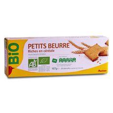 AUCHAN BIO Biscuits petit beurre riches en céréales, sachets fraîcheur 4x5 biscuits 167g