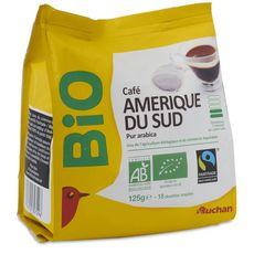 Auchan Bio dosettes café pur arabica Max Havelaar x18 -125g