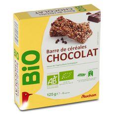 Auchan bio barre de céréales chocolat x6 -125g