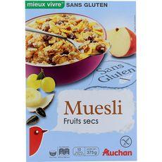 AUCHAN MIEUX VIVRE Muesli de céréales fruits secs sans gluten 375g