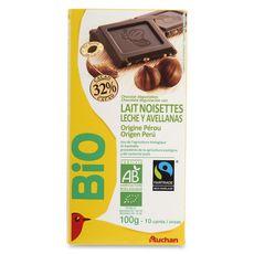 Auchan Bio chocolat au lait noisettes 100g