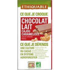 Ethiquable bio chocolat au lait noix de cajou 100g