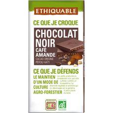 Ethiquable Tablette de chocolat noir bio, café et amandes 100g