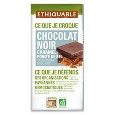 Ethiquable chocolat noir caramel pointe de sel bio 100g