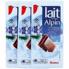 Auchan chocolat au lait alpin 3x100g