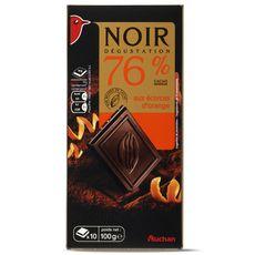 Auchan Chocolat noir avec écorces d'orange 76% -100g