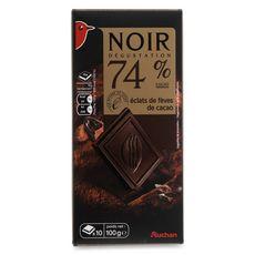 Auchan chocolat de dégustation noir 74% éclats de fèves 100g