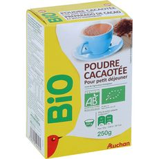 Auchan Bio Poudre cacaotée pour petit déjeuner 250g