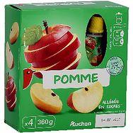 Auchan compote de pomme allégée gourdes 4x90g
