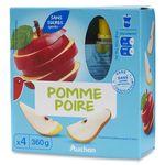 Auchan compote sans sucre ajouté pomme poire gourde 4x90g
