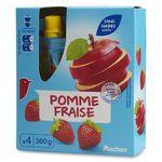 Auchan spécialité sans sucre pomme fraise gourde 4x90g
