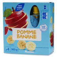 Auchan spécialité fruits sans sucre pomme banane gourde4x90g