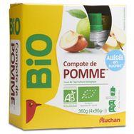 Auchan compote bio pomme allégées en sucre gourdes 4x90g