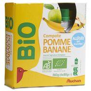 Auchan bio compote allégée pomme banane gourde 4x90g