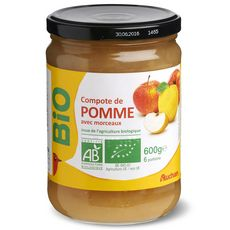Auchan bio compote pomme avec morceau bocal 600g