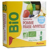 Auchan spécialité pomme fraise myrtille bio 4x90g
