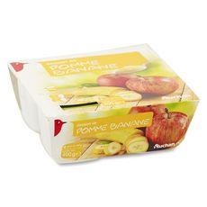 AUCHAN Coupelles pomme banane 4x100g