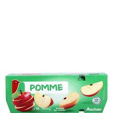 AUCHAN Auchan Compote pomme allégé en sucre 16x100g 16x100g