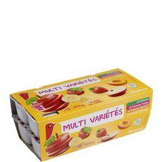 AUCHAN Coupelles pomme fraise abricot banane allégé en sucres sans conservateur 16x100g