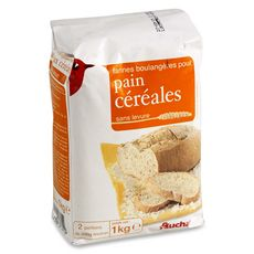 AUCHAN Farine boulangère sans levure pour pain céréales 1kg