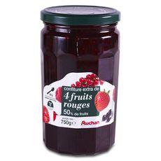 Auchan confiture 4 fruits rouges 750g