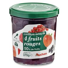 Auchan confiture 4 fruits rouges 370g