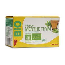 Auchan bio infusion menthe thym x20 -30g