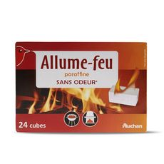 AUCHAN Allume-feu paraffine sans odeur 24 cubes