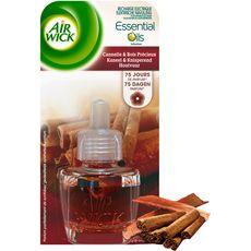AIR WICK Essential Oils recharge pour diffuseur electrique cannelle et bois précieux 19ml