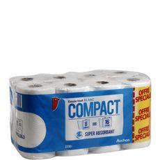 AUCHAN Auchan Essuie-tout blanc compact super absorbant x8 = 16 standards 8 rouleaux
