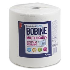 Auchan Essuie-tout blanc en bobine résistant et absorbant 500 feuilles