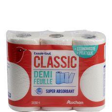 Auchan Essuie-tout blanc classic demi-feuille super absorbant x3