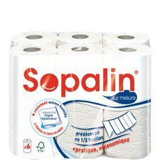 SOPALIN Sopalin essuie tout sur mesure blanc avec 3 plis rouleau x6