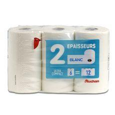 Auchan Papier toilette blanc ultra compact 2 épaisseurs x6