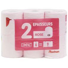 AUCHAN Papier toilette rose compact 2 épaisseurs = 9 standards 6 rouleaux