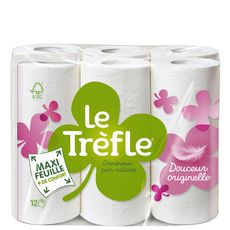 LE TREFLE Papier toilette blanc maxi feuille 12 rouleaux